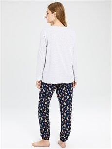 %48 Pamuk %52 Polyester Baskılı Pijama Takımı