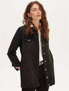 Siyah Uzun Jean Ceket 9WK680Z8 LC Waikiki