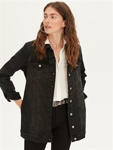 %98 Pamuk %2 Elastan Orta Ceket Uzun Jean Ceket