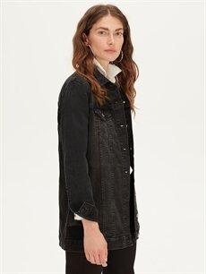 %98 Pamuk %2 Elastan Uzun Jean Ceket