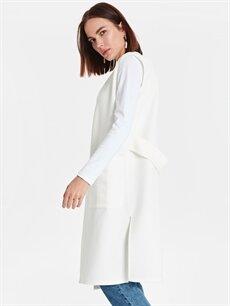 %94 Polyester %6 Elastan  Cep Detaylı Uzun Yelek