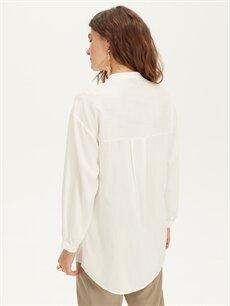 %33 Polyester %67 Viskon V Yaka Dökümlü Gömlek
