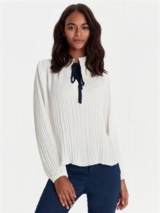 %100 Polyester  Yakası Bağlamalı Krep Bluz
