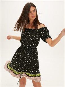 %100 Viskoz Diz Üstü Desenli Kısa Kol Fırfır Detaylı Omuzları Açık Viskon Elbise