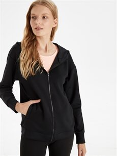 Siyah Kapüşonlu Fermuarlı Sweatshirt 9WK942Z8 LC Waikiki