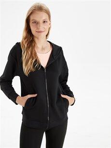 %94 Polyester %6 Elastan  Kapüşonlu Fermuarlı Sweatshirt