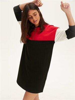 Renk Bloklu Pamuklu Salaş Elbise - LC WAIKIKI