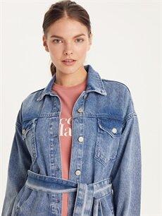 LC Waikiki İndigo Kuşaklı Uzun Jean Ceket