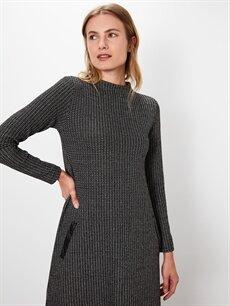 %80 Polyester %17 Viskon %3 Elastan Uzun Desenli Uzun Kol A Kesim Desenli Uzun Elbise