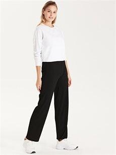 %64 Polyester %5 Elastan %31 Viskon Normal Bel Standart Lastikli Bel Pantolon Beli Lastikli Esnek Pantolon
