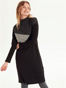 Siyah Dik Yaka Renk Bloklu Elbise 9WL082Z8 LC Waikiki