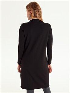 %27 Polyester %70 Viskoz %3 Elastan Dik Yaka Renk Bloklu Elbise