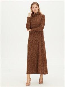 Kahverengi Şal Yaka Uzun Esnek Elbise 9WL085Z8 LC Waikiki
