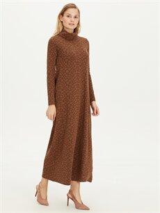 %70 Polyester %28 Viskon %2 Elastan Uzun Desenli Uzun Kol Şal Yaka Uzun Esnek Elbise