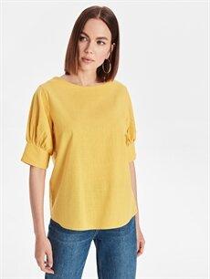 Sarı Sırtı Yırtmaçlı Pamuklu Bluz 9WL146Z8 LC Waikiki