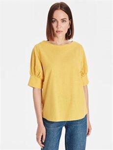 %100 Pamuk  Sırtı Yırtmaçlı Pamuklu Bluz
