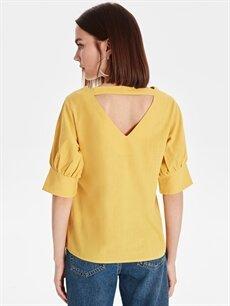 Kadın Sırtı Yırtmaçlı Pamuklu Bluz