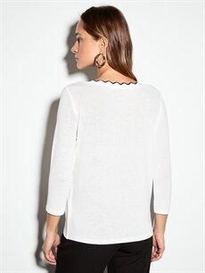 Kadın Yakası Fırfır Detaylı Esnek Tişört