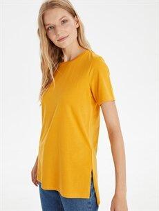 Sarı Düz Pamuklu Tişört 9WL312Z8 LC Waikiki