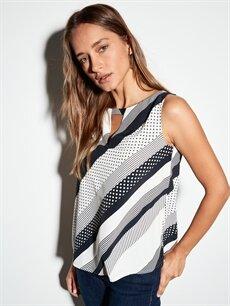 %100 Polyester  Yaka Detaylı Kolszu Saten Bluz