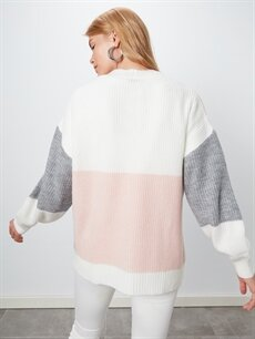 %78 Akrilik %22 Polyester Renk Bloklu Triko Hırka