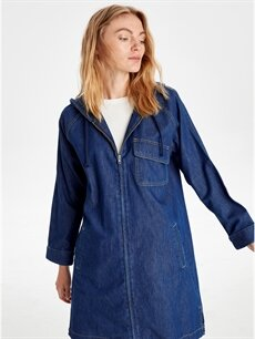 %100 Pamuk Uzun İnce Kapüşonlu Uzun Jean Ceket