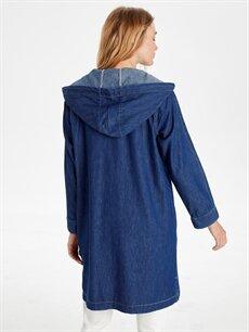 Kadın Kapüşonlu Uzun Jean Ceket