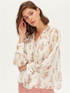 %100 Polyester  Çiçek Desenli Bluz