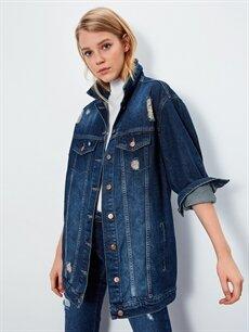 %100 Pamuk İnce Ceket Uzun Jean Ceket