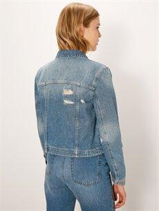 Kadın Sökük Detaylı Jean Ceket