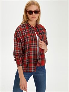 Kadın Ekose Pamuklu Gömlek