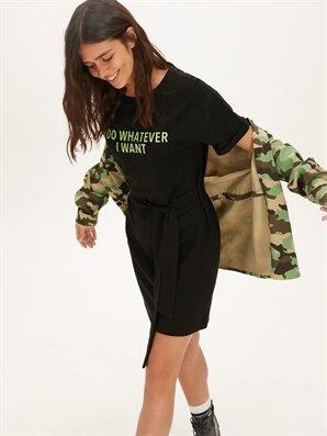 Neon Yazı Baskılı Pamuklu Elbise - LC WAIKIKI