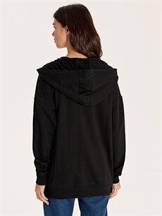 %100 Pamuk Kapüşonlu Fermuarlı Sweatshirt