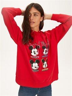 %43 Pamuk %57 Polyester  Mickey Mouse Baskılı Kapüşonlu Sweatshirt