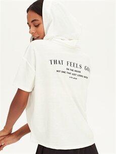 Kadın Slogan Baskılı Kapüşonlu Sweatshirt