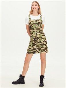 %66 Pamuk %30 Polyester %4 Elastan Diz Üstü Desenli Kısa Kol Kamuflaj Desenli Askılı Mini Elbise