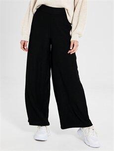 %97 Polyester %3 Elastan Normal Bel Bol Geniş Paça Pantolon Beli Lastikli Esnek Palazzo Pantolon