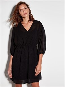Siyah Dokulu Kumaştan Şifon Elbise 9WM409Z8 LC Waikiki