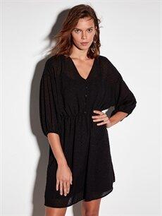 %100 Polyester %100 Polyester Diz Üstü Çizgili Uzun Kol Dokulu Kumaştan Şifon Elbise