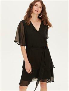 %100 Polyester %100 Polyester Diz Altı Düz Kısa Kol V Yaka Düz Şifon Elbise