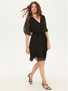 Kadın V Yaka Düz Şifon Elbise
