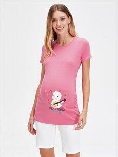 %96 Pamuk %4 Elastan Tişört, Body ve Atlet Slogan Baskılı Pamuklu Hamile Tişört