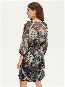 %100 Polyester %100 Polyester Diz Altı Desenli Uzun Kol Beli Lastikli Desenli Elbise