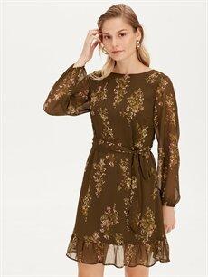 %100 Polyester %100 Polyester Diz Üstü Desenli Uzun Kol Kuşaklı Çiçek Desenli Şifon Elbise