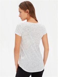Kadın Kendinden Desenli Baskılı Tişört
