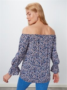 Kadın Çiçek Desenli Omuzları Açık Viskon Bluz