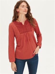 %100 Pamuk Standart Uzun Kol Tişört Diğer Yakası Dantel Detaylı Pamuklu Tişört