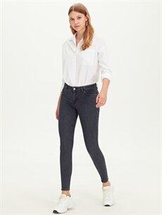%85 Pamuk %13 Polyester %2 Elastan Normal Bel Dar Jean Skinny Jean Pantolon