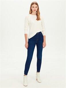 %81 Pamuk %17 Polyester %2 Elastan Yüksek Bel Dar Jean Super Skinny Jean Pantolon