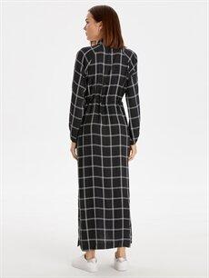 Kadın Beli Lastikli Ekoseli Viskon Elbise
